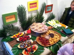 Carnivore, herbivore and sweetivore treats!  Of course the sweetivore was the most popular!